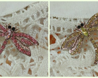 Vintage Rhinestone Dragonfly Cottage Boho Chic Style Brooch Pin