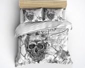 Lightweight Silver Skull Bedding - Black and White Sugar Skull Design, Comforter Cover, Sugar Skull Duvet Cover, Sugar Skull Bedding