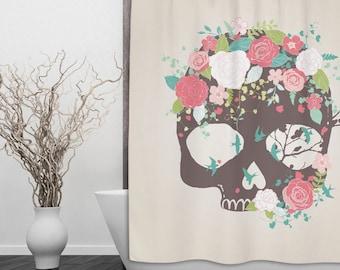 Sugar Skull Shower Curtain - Skull design with flower & bluebirds  - Day of the Dead, Sugar Skull Shower Curtain