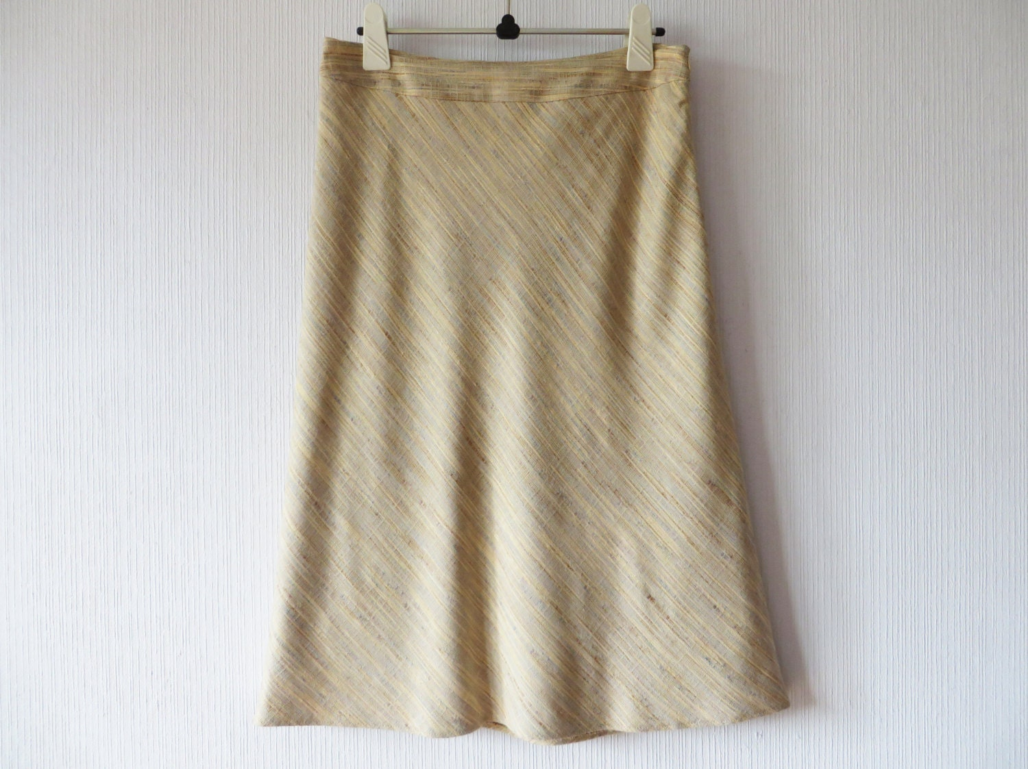 beige a line skirt high waisted linen blend knee length lined