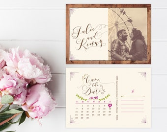 Rustic Save the Date Postcards with Calendar - Woodsy, Vintage, or Spring Wedding Save the Date Cards - Printable