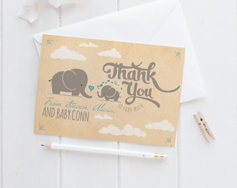 Elephant Baby Shower Thank You Cards - Retro Thank Yous - Instant Download - Eloise