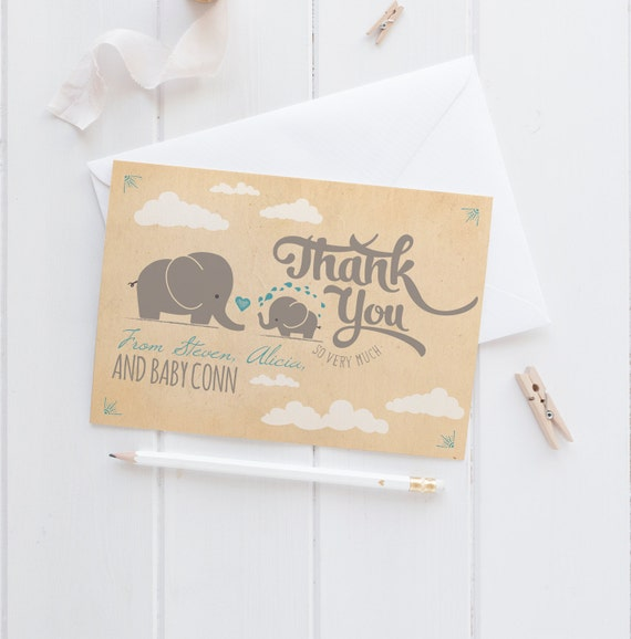 elephant baby shower thank you cards retro thank yous instant
