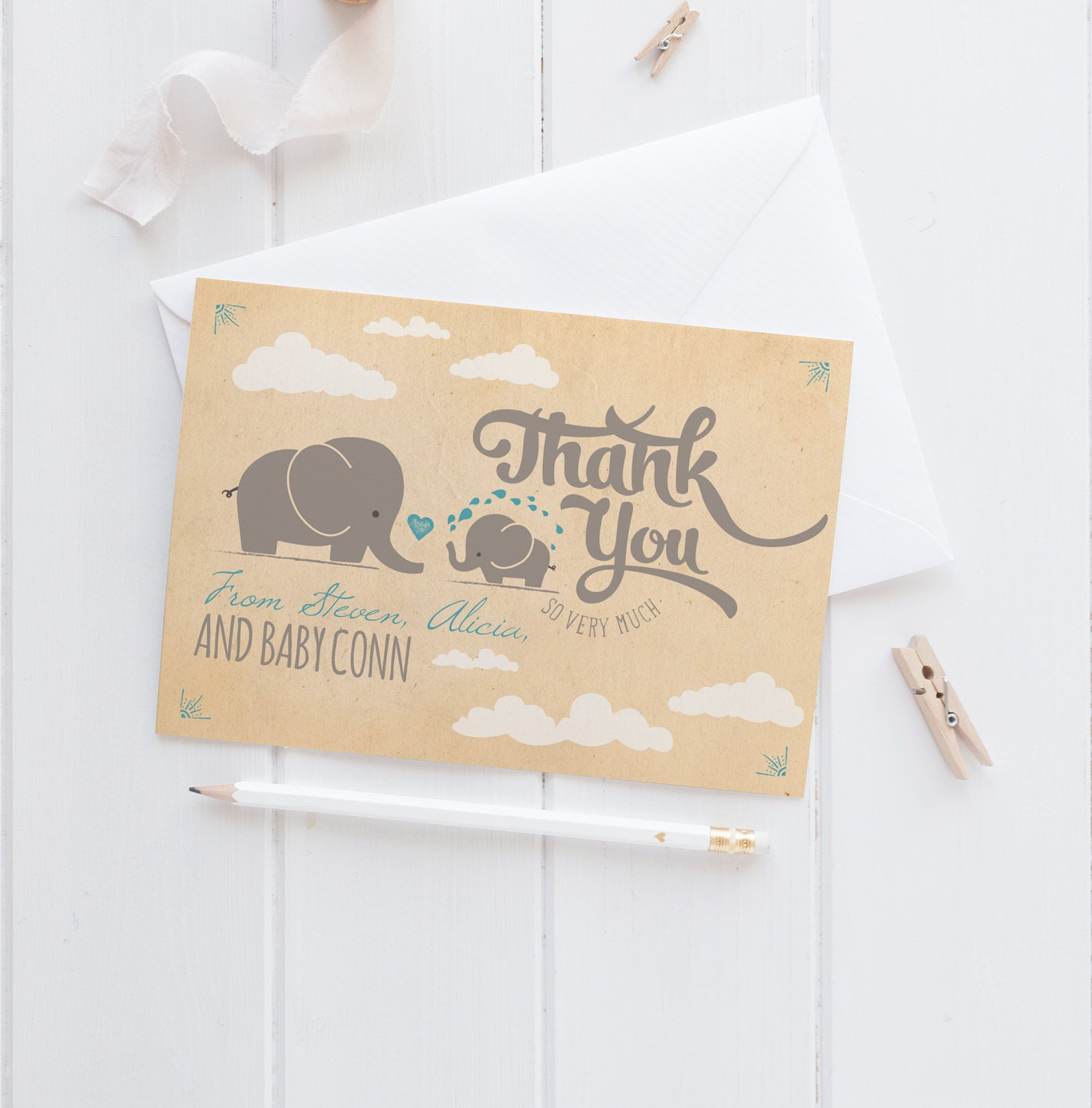elephant baby shower thank you cards retro thank yous