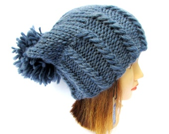 Denim blue hat - blue knit hat with large pom pom - chunky knit slouch hat - denim blue wool hat for women - slouchy beanie hat with pompom