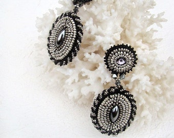 Beaded earrings  Beadwork earrings  Bead embroidery earrings  Dangle earrings  Stud Earrings Silver Black Earrings  CLassic earrings.