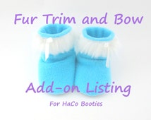 White Faux Fur Trim and Bow - Add on Listing for HaCo Booties
