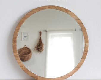 clear mirror large round mirror no pattern decorative wooden mirror boho vintage style unique vanity mirror
