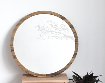 Large round mirror // Branches cross stitch mirror // Decorative mirror // Minimalist Modern mirror // Unique vanity mirror