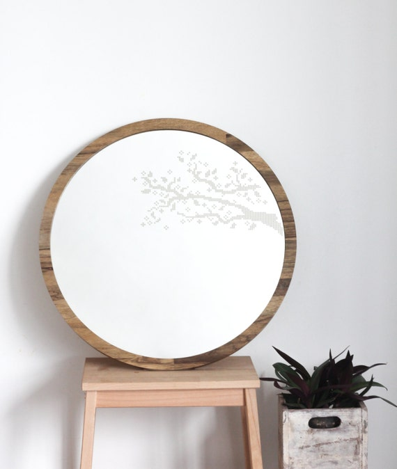 Items Similar To Large Round Mirror Branches Cross