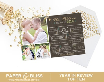 CUSTOM COLOR - Familys Top Ten - Photo Christmas Card Year In Review