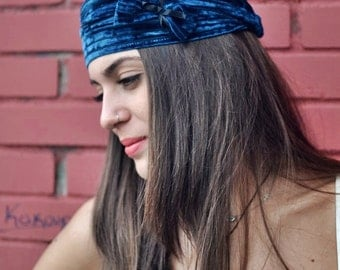 Elastic Velvet Headband, Flower Headband, Teal Blue Headband, Fashion Headbands, Womens Head Wraps, Vintage Headbands, Hair Accessories
