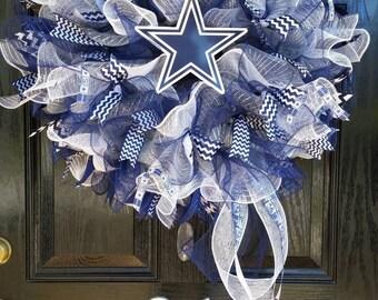 Large Mesh Ribbon Dallas Cowboys Football Wreath Blue White Silver