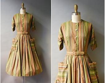 1950's Cotton Dress//Striped Shirtwaist Dress//50's Nubby Cotton Dress