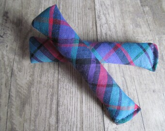 Catnip cat toy. Kitty, kitten. Simple stick toy. Multi coloured checked. Check, tartan. Basic. Pair. Pack of two.