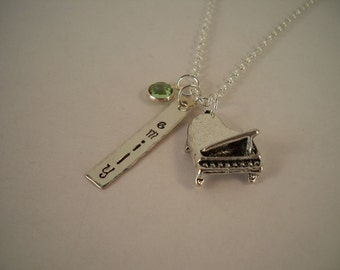 Piano Hand Stamped Metal Personalized Charm Necklace