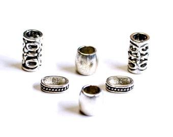 6 Mixed Tibetan Silver Dreadlock Beads Big Hole Beads Dreads Hair Accessories
