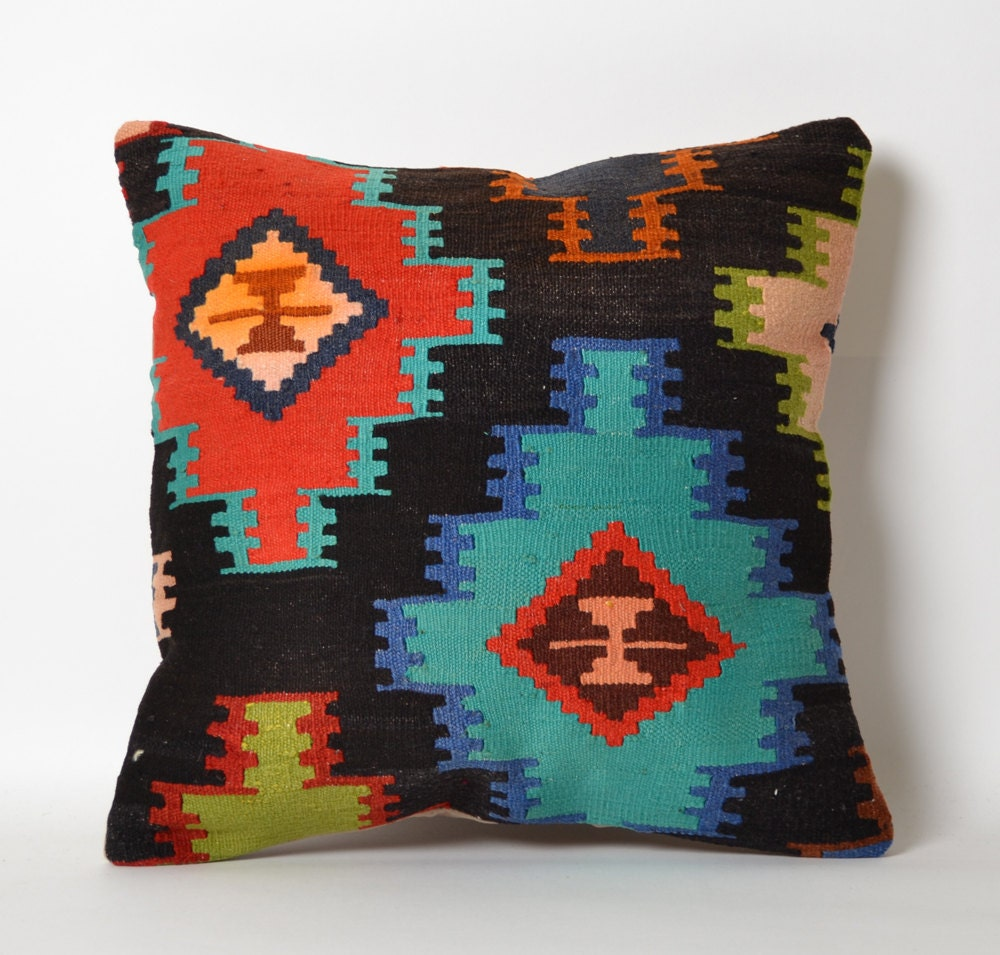 Hippie Floor Pillows : Floor Throw Kilim Pillow Cover Boho Pillow Rustic Red Green