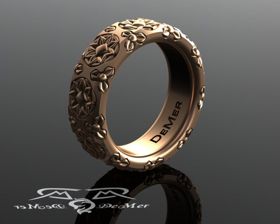 Octogram 8 pointed star and trefoil heavy 14kt rose gold