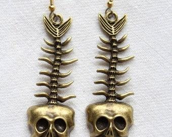 """Dangling earrings. """"Fishtail Skull"""""""