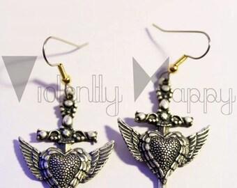"""Dangling earrings. """"Winged Dagger Heart"""""""