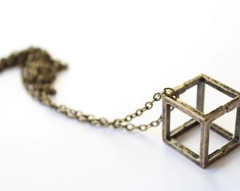 Geometric necklace 'CUBE' bronze