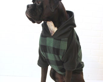 Dog Hoodie Large Dog Sweater Clothing for Girl/Boy in Green Buffalo Plaid