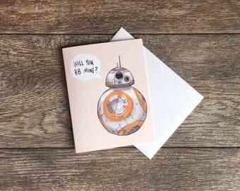 BB-8 Valentine's Star Wars  Greeting Card