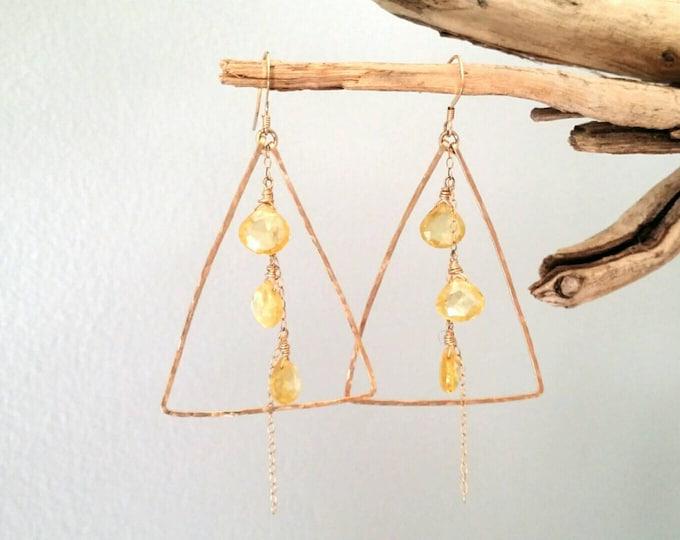 Gemstone Earrings, Citrine, Briolette, 14k Gold Fill, Sterling Silver, Gold Hoops Earrings, Chain Earrings, Chandelier Earrings, Triangle
