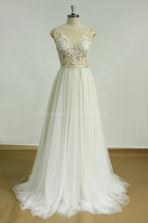 Deep V Open Back Wedding Dress 68