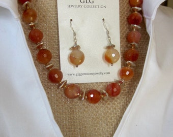 Faceted Carnelian Necklace and Earring Set