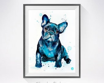 French Bulldog watercolor painting print, French Bulldog art,animal watercolor,French Bulldog painting, French Bulldog illustration, dog art
