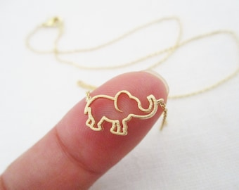 Gold, Rose Gold or Silver  elephant  necklace...dainty handmade necklace, everyday, simple, birthday
