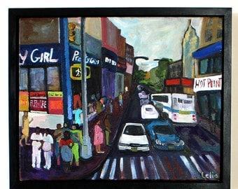 Colorful Oil Painting New York City / Framed Painting/ NYC Painting/ New York City Painting / Contemporary Art / New York Art