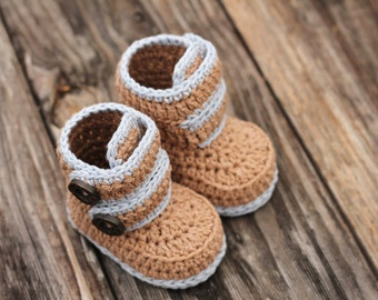 "Baby Boys Booties Crochet Pattern, Baby Boy Booties ""Kohl Button Boot"" Modern Bootie Pattern, Boys, Crochet Booties PATTERN ONLY"