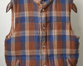 Vintage FIELD + STREAM REVERSIBLE Vest Blue/Brown Plaid Wool w. Tan Nylon Down Puffer Size L Large
