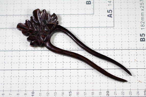 Hair stick wood carving tribal flower pin by ayujewelry