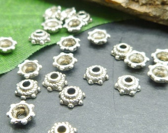 40 Antique Silver Bead Caps - Small Spacer Bead Caps - 5mm- Tibetan Silver Findings - BC051