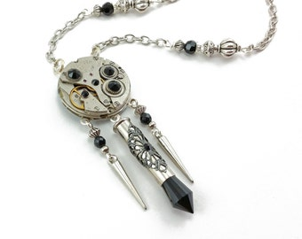 watch movement necklace, steampunk jewelry N425