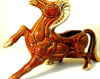 Large Vintage Horse Planter Mid Century Planter with Gold Highlighted Mane, Tail and Hooves