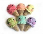 Ice Cream Cone Sweeties - Kawaii Plush - Blushing - Crochet - Amigurumi - TUTORIAL PDF