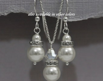 Swarovski White Pearl Jewelry Set, Bridesmaid Gift, Bridesmaid Jewelry in Sterling Silver Setting