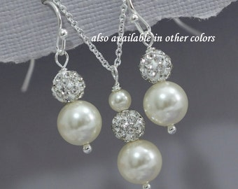 Swarovski Ivory Pearl Jewelry Set, Bridesmaid Gift, Bridesmaid Jewelry in Sterling Silver Setting