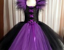 Maleficent Tutu Dress with Matching Horned Headband- Photo Shoot, Costume, Pageant, Halloween, Birthday, Gift, Purple, Black