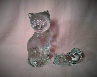 Pair of Clear Glass Cat Figurines - Heavy - Cat Lover Collection