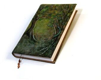 Serpent's Tree Grimoire, 300 page Hardback Sketchbook, Blank Book of Shadows, Handmade Journal