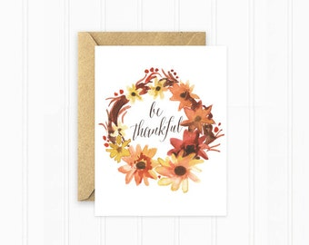 Thanksgiving Card, Watercolor Leaves and Flowers, Thankful, Holiday Stationery
