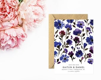 Save The Date, Indigo Blue Flowers, Whimsical Floral Save the Date Cards, Hand Painted Watercolor