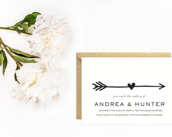 Arrow Wedding Invitations, Tribal Wedding Invitation, Classic Black and White