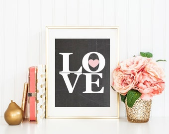 Love Art Print, Typography Art Print Nursery Print on Chalkboard Background
